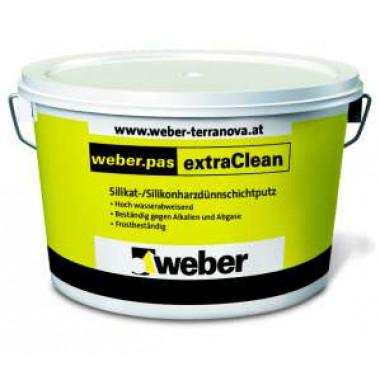 Weber.Pas ExtraClean 1.5 mm «Шуба» Декоративная силикатно-силиконовая фасадная штукатурка (25 кг)
