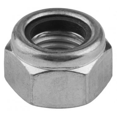 Гайка KRAFTOOL шестигранная, DIN 985, самостопорящаяся, с нейлоновым кольцом, класс прочности 8, оцинкованная, M20, 50 шт