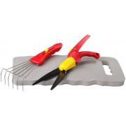 Набор GRINDA садовый, 3 предмета: ножницы для стрижки травы, подколенник, грабельки