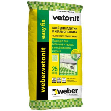 Weber Vetonit «Easy Fix» Клей плиточный серый (25 кг)