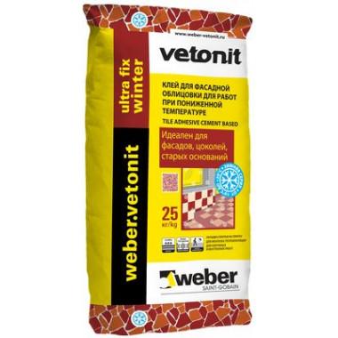 Weber Vetonit «Ultra Fix winter» Зимний клей для фасадной облицовки серый (25 кг)