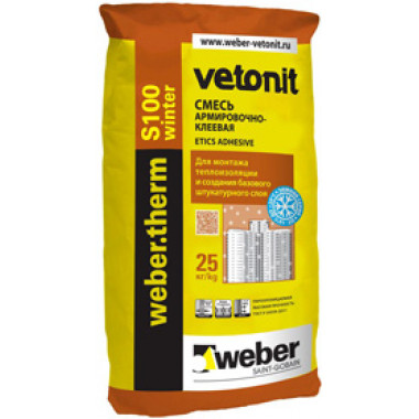 Weber Therm «S100 Winter» Зимний клей для систем скрепленной теплоизоляции (25 кг)