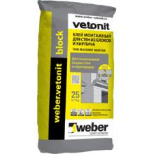 Weber Vetonit «Block» Клей монтажный для стен из блоков и кирпича (25 кг)