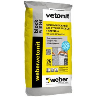 Weber Vetonit «Block winter» Клей монтажный для стен из блоков и кирпича (25 кг)