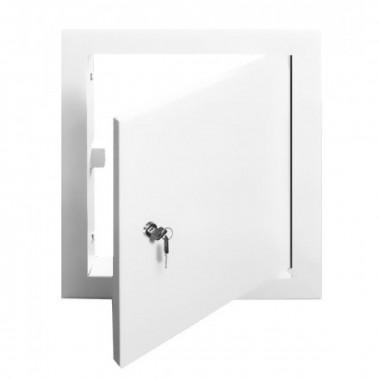 Люк-дверца ревизионная 160х260 с фланцем 100х200 с ручкой стальная с покрытием полимер.э